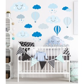 Wall Decoration - Grey-Blue Clouds and Balloons