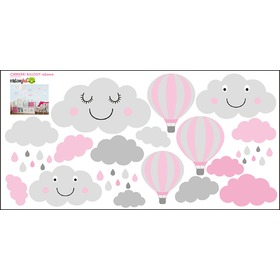 Wall Decoration - Grey-Pink Clouds and Balloons, Mint Kitten