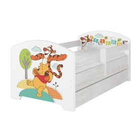 Baby bed with a barrier - Winnie the Pooh and a tiger - Norwegian pine decor, BabyBoo, Winnie the Pooh