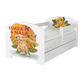 Children's bed with a barrier - The Lion King - Norwegian pine decor, BabyBoo, The Lion King