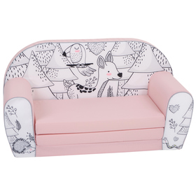 Children sofa Forest critters - pink-black-and-white