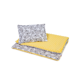 Children blanket a pillow L Animals - yellow