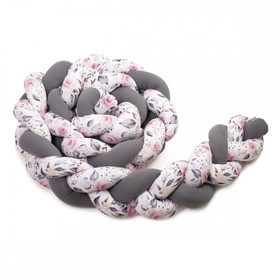 Braid mantinel - anthracite / floral print - various sizes, T-Tomi