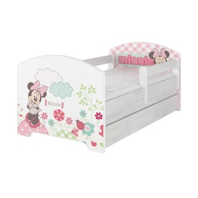 Children bed with barrier - Minnie Mouse - decor norwegian pine, BabyBoo, Minnie Mouse
