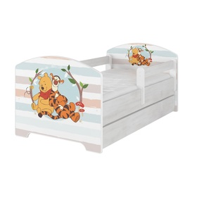Children bed with barrier - Teddy bear Pooh a tiger - decor norwegian pine, BabyBoo, Winnie the Pooh
