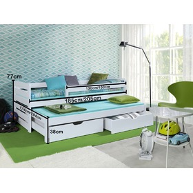 Praktik Children's Trundle Bed with Safety Rail - White