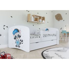 Children bed with barrier - Raccoon - white, All Meble