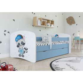 Children bed with barrier - Raccoon - blue, All Meble