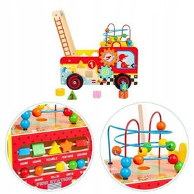 Wooden educational walker with cubes - fire car, EcoToys