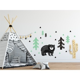 Wall decoration Bear in woods mint-black