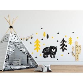 Decoration to wall Bear in woods yellow-black, Mint Kitten