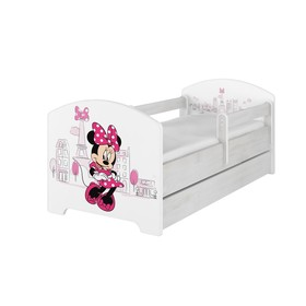 Baby cot with barrier - Minnie Mouse in Paris - white, BabyBoo, Minnie Mouse
