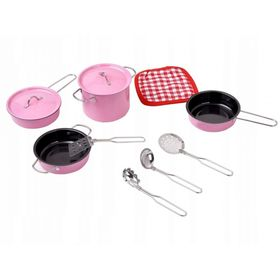 Set dishes to children's kitchens - pink, EcoToys