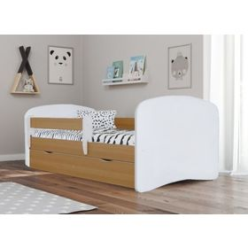 Ourbaby Children's Bed with Safety Rail - Beech-White, All Meble