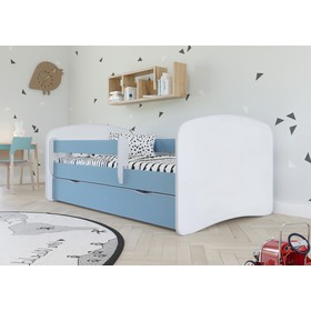 Ourbaby Children's Bed with Safety Rail - Blue-White, All Meble