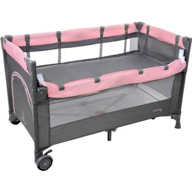 Travel cot Close to Mommy - pinkish-gray, Multiglob
