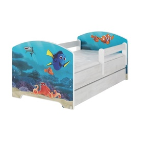 Children bed with barrier - Dory a Nemo - decor norwegian pine, BabyBoo, Finding Dory