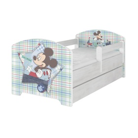 Children bed with barrier - Mickey Mouse - decor norwegian pine, BabyBoo, Mickey Mouse
