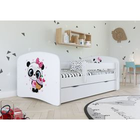 Children bed with barrier - Panda - white, All Meble