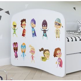 Children bed with barrier - Superheroes - white, All Meble