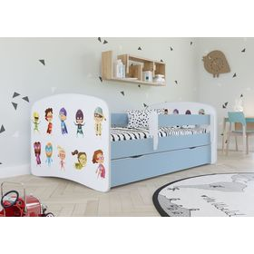Children bed with barrier - Superheroes - blue, All Meble