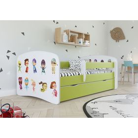 Children bed with barrier - Superheroes - green, All Meble